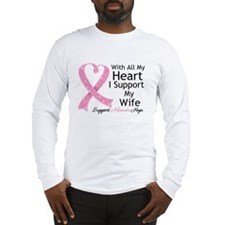 Heart Wife Breast Cancer Long Sleeve T-Shirt
