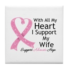 Heart Wife Breast Cancer Tile Coaster