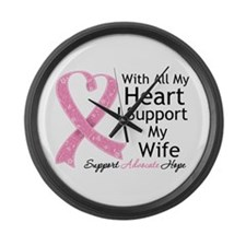 Heart Wife Breast Cancer Large Wall Clock