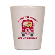 Fire Truck 1st Birthday Boy Shot Glass