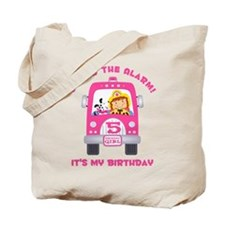 Fire Truck 5th Birthday Girl Tote Bag