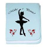 Ballerina in Silhouette with Roses baby blanket