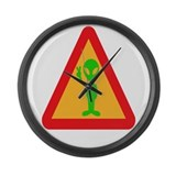 Green Alien Sign Large Wall Clock