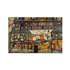 Schiele - House Wall Rectangle Magnet