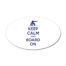 Keep calm and board on 22x14 Oval Wall Peel