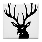 stag heart cervine antler buck deer Tile Coaster