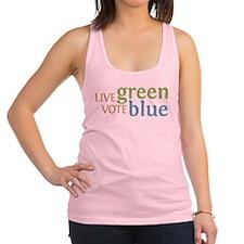 Live Green Vote Blue transparent.png Racerback Tan