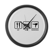 Eat Sleep Taekwondo Large Wall Clock