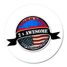 Russian American 2 x Awesome Round Car Magnet