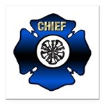 Fire Chief Gold Maltese Cross Square Car Magnet 3&