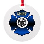 Fire Chief Gold Maltese Cross Round Ornament
