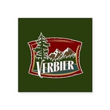 "Verbier Mountain Banner Square Sticker 3"" x 3"""