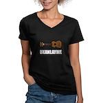 Ukanlayme Ukulele Women's V-Neck Dark T-Shirt
