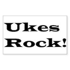 Ukes Rock! rectangle sticker