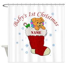 Babys 1st Christmas Shower Curtain