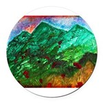 Green Mountains Round Car Magnet