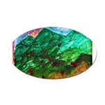 Green Mountains Oval Car Magnet