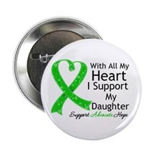 "Support Daughter Green Ribbon 2.25"" Button (10 pac"