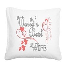 Hearts Wife copy.png Square Canvas Pillow