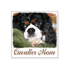 "Cavalier Mom Square Sticker 3"" x 3"""