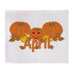 Halloween Pumpkin April Throw Blanket