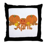 Halloween Pumpkin April Throw Pillow
