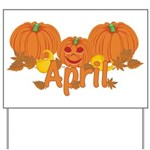 Halloween Pumpkin April Yard Sign
