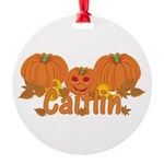 Halloween Pumpkin Caitlin Round Ornament