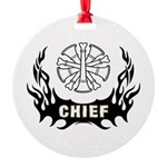 Fire Chief Tattoo Round Ornament