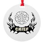 Fire Chief Tattoo Round Ornament