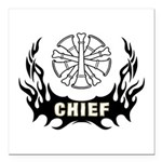 "Fire Chief Tattoo Square Car Magnet 3"" x 3&qu"