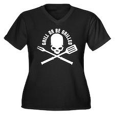 grill skull barbecue bar bq Women's Plus Size V-Ne