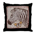 Zebra Butterfly Throw Pillow