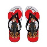 Doberman Flip Flops red