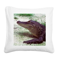 Gator on Ground Square Canvas Pillow