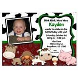 Farm Animals Kids Birthday 5x7 Flat Cards