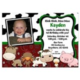 Farm Animals Kids Birthday Invitations