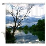 Cloudy pond Shower Curtain