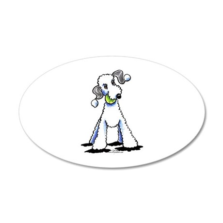 Bedlington Terrier Play 20x12 Oval Wall Decal