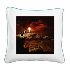 Nubble Light: Lighthouse Square Canvas Pillow
