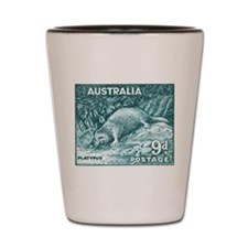 1956 Australia Platypus Stamp Teal Shot Glass