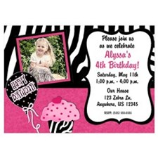 Pink Zebra Cupcake Birthday Invitations