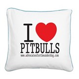 I LOVE Pitbulls - Square Canvas Pillow