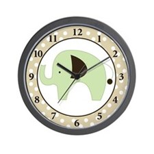 Green Elephant Wall Clock (Tan Border)