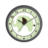 Green Elephant Wall Clock (Green Border)