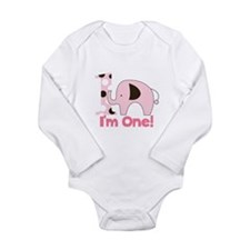 Im ONE Pink Elephant First Birthday Long Sleeve In