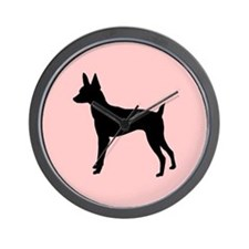 toy fox terrier retro pink Wall Clock