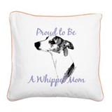 Whippet 2 Square Canvas Pillow