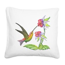 Hummingbird Flight Square Canvas Pillow