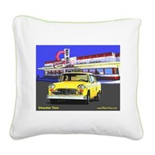 Checker Taxi Square Canvas Pillow